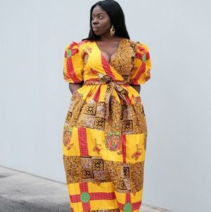 Women African print full-length maxi dress